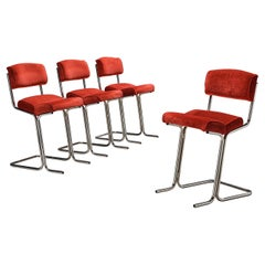 Set of Four French Dining Chairs in Red Velvet Upholstery