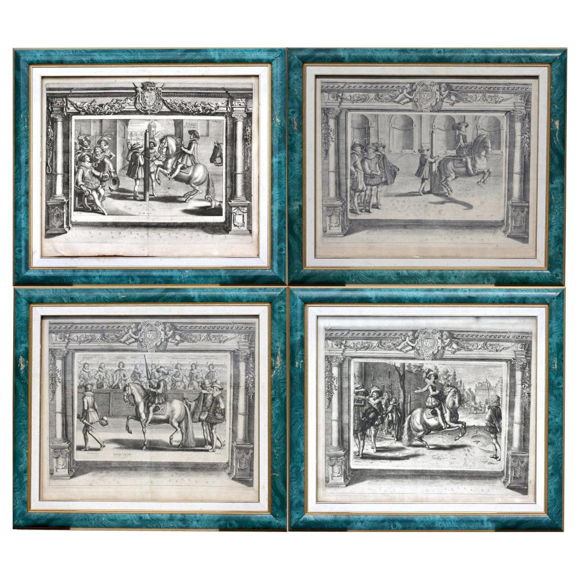 Set of Four French Equestrian Engravings, 18th-19th Century