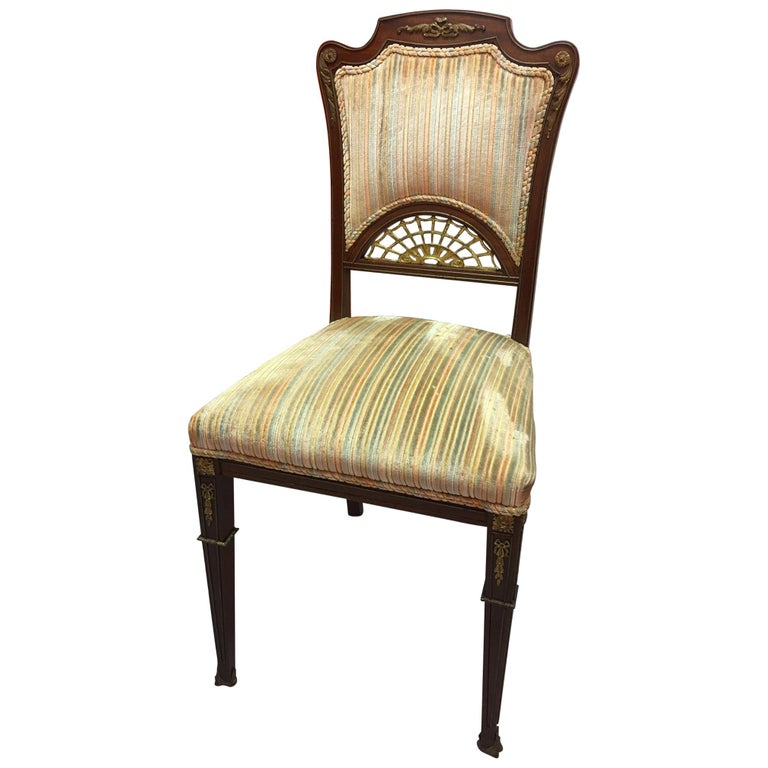 Set of Four French Game Chairs or Side Chairs, Late 19th Century For Sale