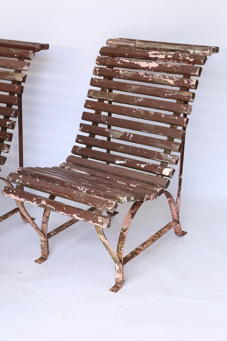 20th Century Set of Four French Garden Chairs, circa 1940 For Sale