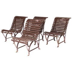 Set of Four French Garden Chairs, circa 1940