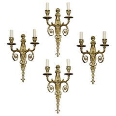 Set of Four French Gilded Bronze Wall Lights