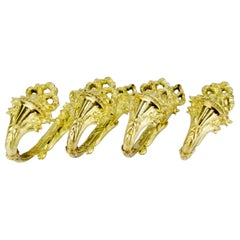 Set of Four French Gilt Bronze Curtain Tiebacks or Curtain Holders Signed A.D.