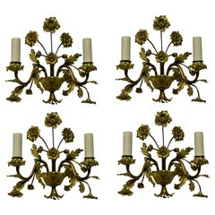 Set of Four French Gilt Bronze Flower Sconces
