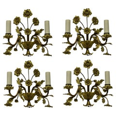 Set of Four French Gilt Bronze Flower Sconces