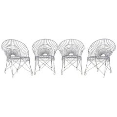 Set of Four French Iron and Wire Garden Chairs