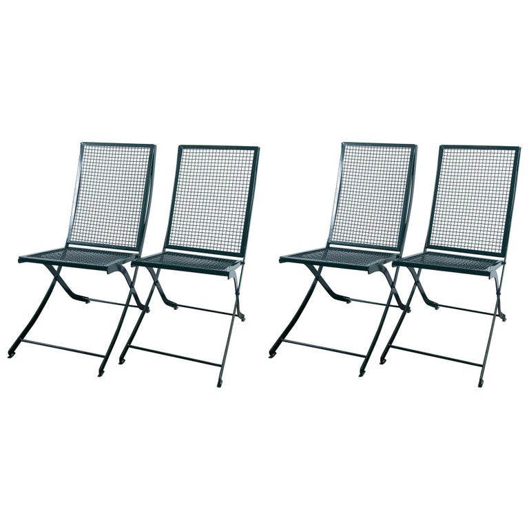 Set of Four French Iron Garden Chairs For Sale