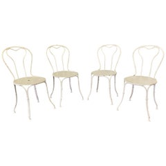 Set of Four French Iron Garden Chairs