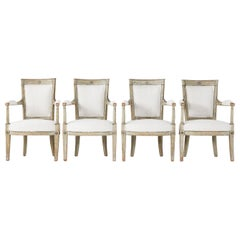 Set of Four French Late 18th Century Painted Armchairs