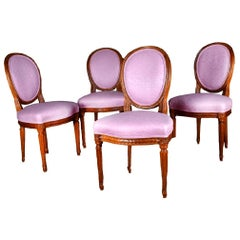 4 Neoclassical Round Back XVI carved dining chairs pink fabric circa 1800 France