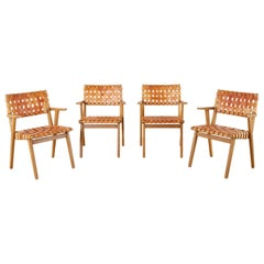 Set of Four Jens Risom Style Webbed Leather Strap Dining Armchairs