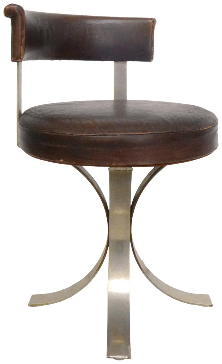 Mid-Century Modern Set of Four French Leatherette and Chromed-Steel Dining Chairs For Sale