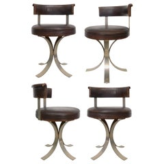 Set of Four French Leatherette and Chromed-Steel Dining Chairs