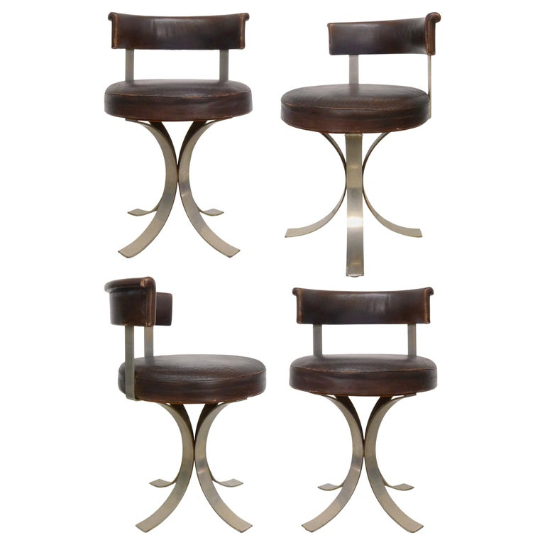 Set of Four French Leatherette and Chromed-Steel Dining Chairs For Sale