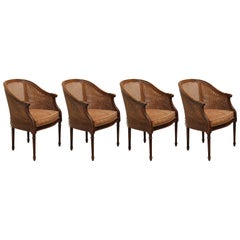 Set of Four French Louis XV Cane Barrel Back Chairs