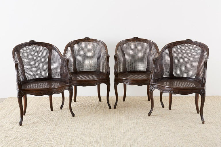 Set of Four French Louis XV Style Caned Barrel Chairs For Sale 8