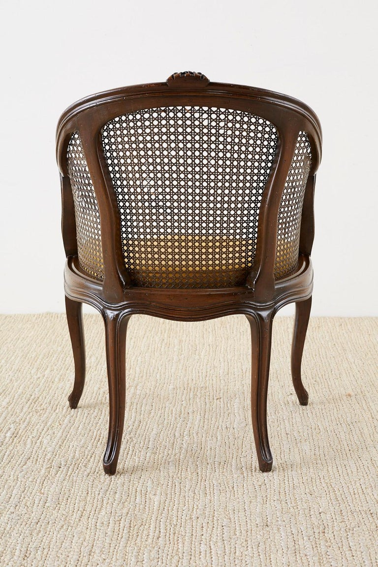 Set of Four French Louis XV Style Caned Barrel Chairs For Sale 9