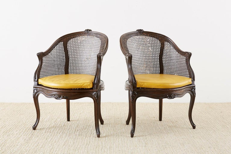 Set of Four French Louis XV Style Caned Barrel Chairs For Sale 12