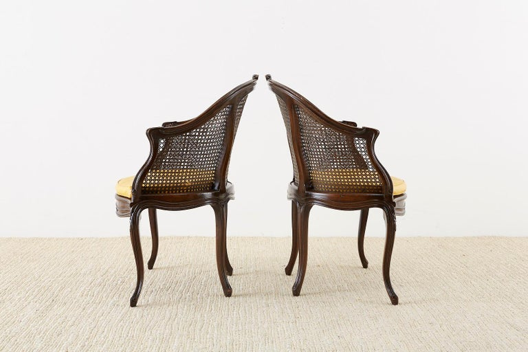 Set of Four French Louis XV Style Caned Barrel Chairs For Sale 13
