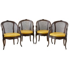 Set of Four French Louis XV Style Caned Barrel Chairs