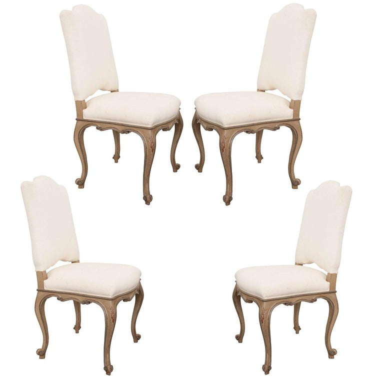 Set Of Four French Louis Xv Style Reproduction Dining Side Chairs For