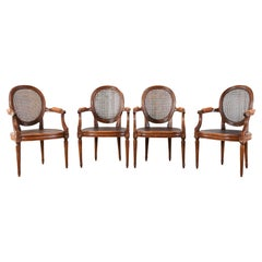 Set of Four French Louis XVI Style Caned Dining Armchairs
