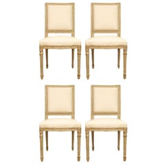 Set of Four French Louis XVI Style Patinated Pale Green Dining Chairs