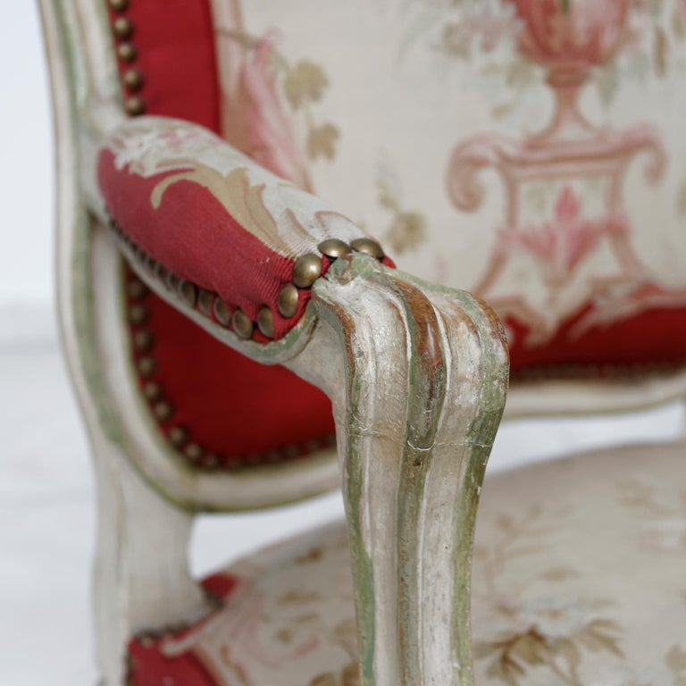 Wood Set of Four French Mid-18th Century Rococo Louis XV Painted Fauteuils For Sale