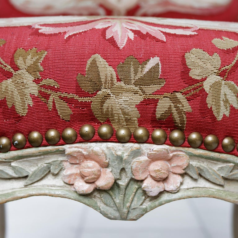 Set of Four French Mid-18th Century Rococo Louis XV Painted Fauteuils For Sale 2