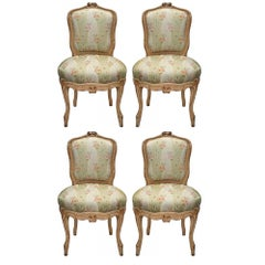 Set of Four French Mid-19th Century Louis XV Style Patinated Chairs