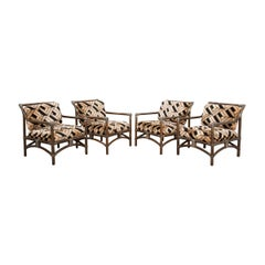 Set of Four French Mid-Century Modern Rattan Armchairs