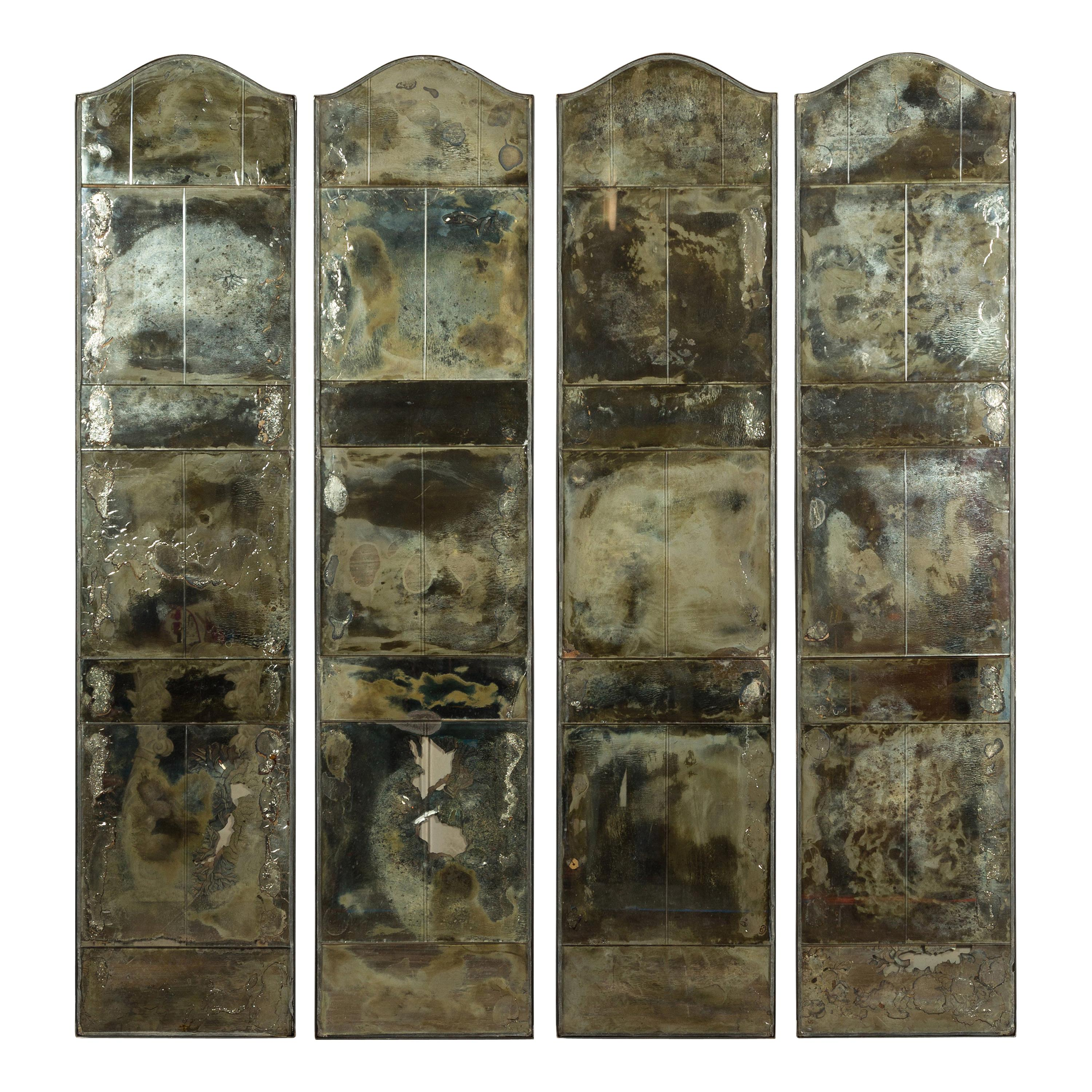 Set of Four French Midcentury Mirrored Screens with Distressed Appearance