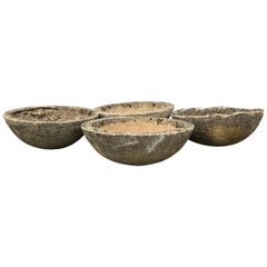 Set of Four French Mossy and Weathered Midcentury Cast Stone Bowl Planters