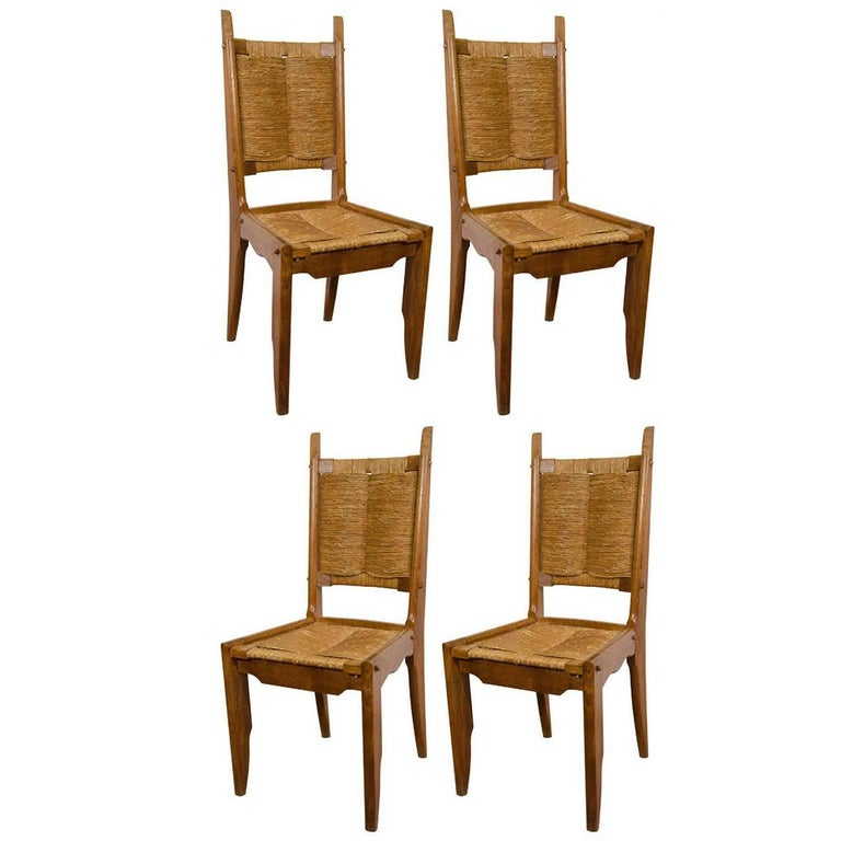 Set of Four French Oak Chairs by Guillerme & Chambron, France, 1960s
