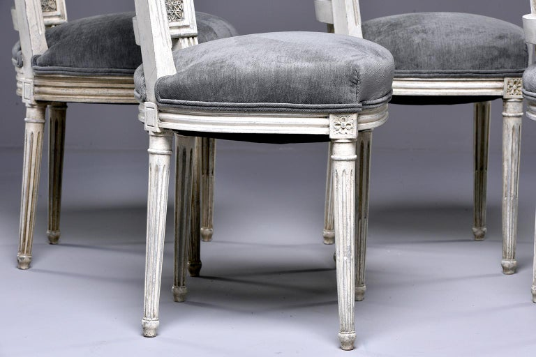Set of Four French Painted Chairs with Upholstered Seats and Caned Backs For Sale 8