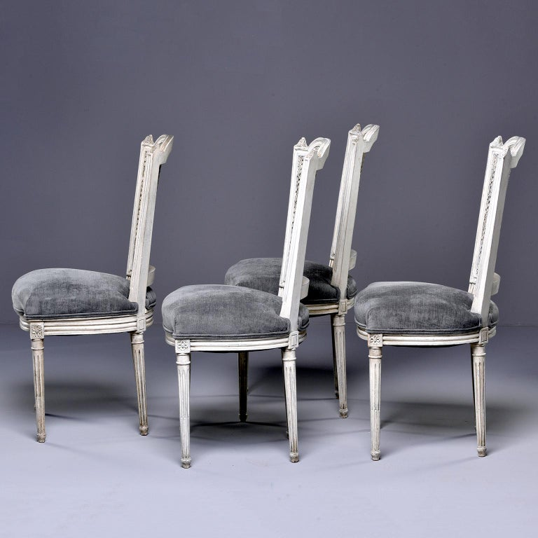 Set of Four French Painted Chairs with Upholstered Seats and Caned Backs In Good Condition For Sale In Troy, MI