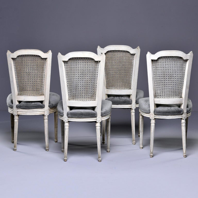 Set of Four French Painted Chairs with Upholstered Seats and Caned Backs For Sale 1