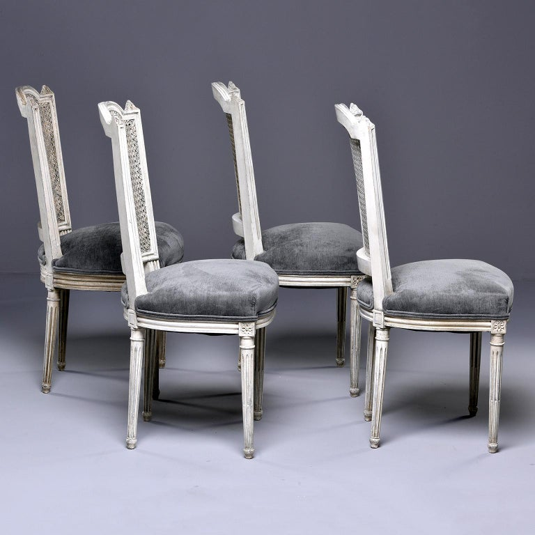 Set of Four French Painted Chairs with Upholstered Seats and Caned Backs For Sale 2