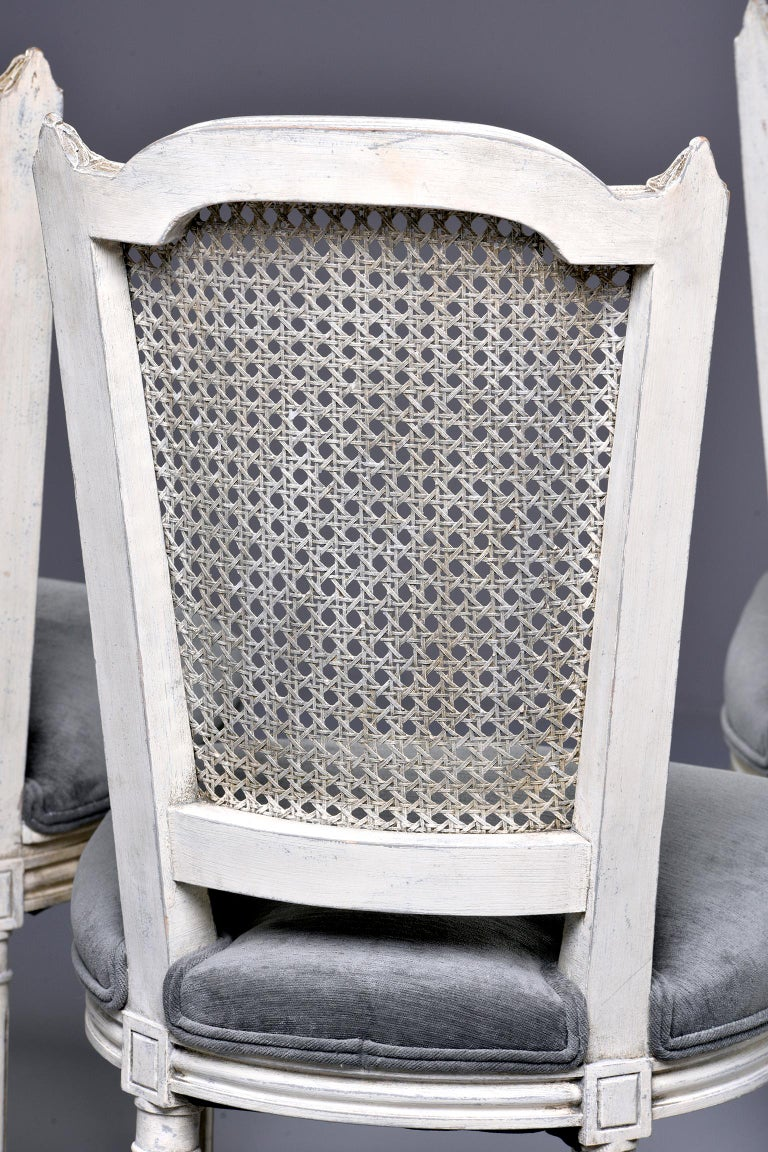 Set of Four French Painted Chairs with Upholstered Seats and Caned Backs For Sale 6