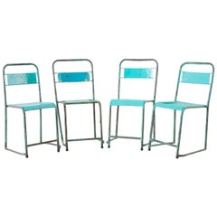 Set of Four French Painted Steel Stacking Garden Chairs