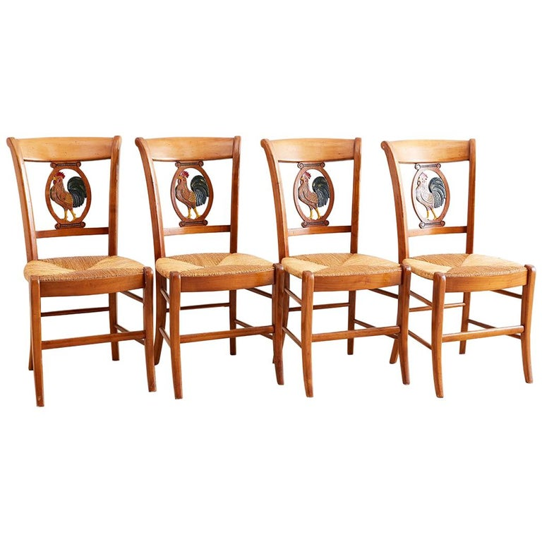 Set Of Four French Provincial Rush Seat Dining Chairs For Sale At