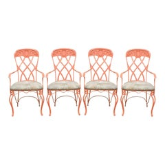 Set of Four French Regency Style Wrought Iron Patio Sunroom Dining Armchairs