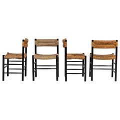 Set of Four French Rush Seat and Back Dining Chairs