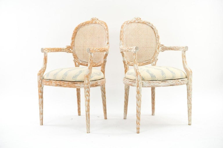 Hollywood Regency Set of Four French Style Cerused Balloon Back Dining Chairs For Sale