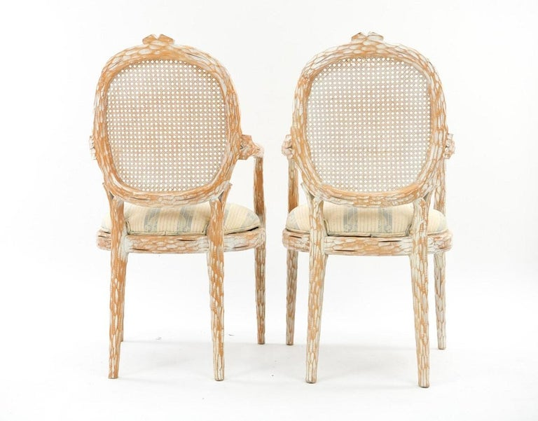Set of Four French Style Cerused Balloon Back Dining Chairs In Good Condition For Sale In New York, NY