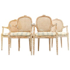 Set of Four French Style Cerused Balloon Back Dining Chairs