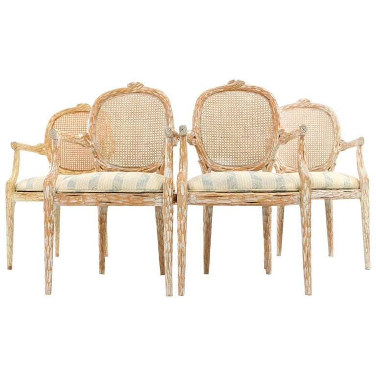 Set of Four French Style Cerused Balloon Back Dining Chairs For Sale