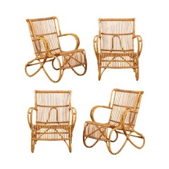 Set of Four French Vintage Bent Cane Patio Chairs with Fluid Shapes