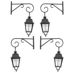 Set of Four French Vintage Large Metal Lanterns