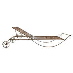 Set of Four French Wrought Iron Chaise Longues
